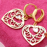 Fashion Jewelry 14K Gold Plated Heart CZ Love Earrings