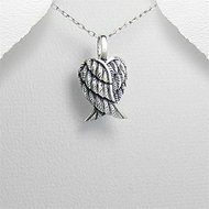 Heart Angel Wings Pendant Sterling Silver Necklace