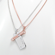 Lovers Message Tag Vermeil Sterling Silver Couple Necklaces Set
