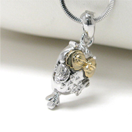 White Gold Plated Two Tone Owl Pendant Necklace