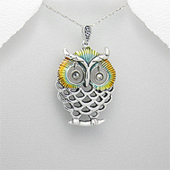 Fashionable Owl Pendant Enamel Coloring Sterling Silver Necklace