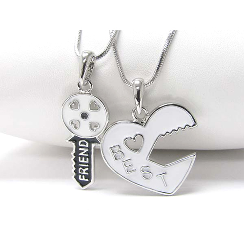 Heart and key best friend two necklaces set j250215ncp271 aloadofball Image collections