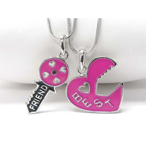Heart and key best friend two necklaces set j250215ncp272 aloadofball Choice Image